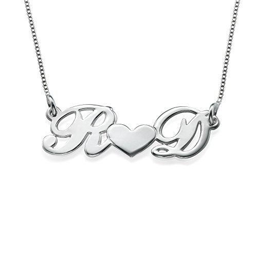 Emily And Ashley Initials Necklace - Personalized Couples Heart Necklace Sterling Silver- Custom Made with 2 Initials!