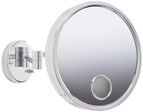Jerdon JD7C 9-Inch Euro Style Lighted Wall Mount Makeup Mirror with 3X Magnification and Spot Mirror, Chrome Finish by Jerdon
