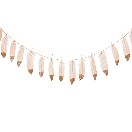 Ling's moment 10FT Feather Garland Rose Gold Glitter Dipped Soft Peach Feather Banner for Bedroom Bohemian Teepee Decorations, Boho Theme Wedding Bridal Baby Shower Decor (Hanging Sparkle Room Decor)