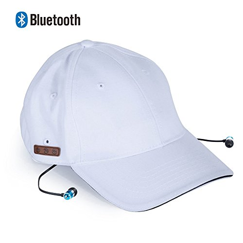 Hands Headset White Free (Zibaar Bluetooth Hat Bluetooth Baseball Cap, Bluetooth Cap Wireless Hat Headset Combined with Removable Bluetooth V4.1 Stereo Bluetooth Headset and Mic, Hands Free Talking for Cell Phones-Unisex White)