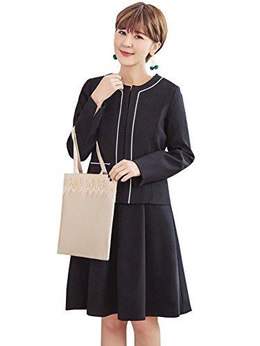 ゆりペースト迷彩[sweet bell] ジャケット レディース スーツ スカート ワンピース フォーマル パーティードレス セットアップ 結婚式 披露宴 ブラック 黒 Lサイズ 11号 scy57188-bk-L