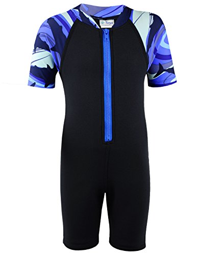 Tuga Boys Shorty 1.5mm Neoprene/Spandex Wetsuit (UPF 50+), Shark Blue, S (7/8 yrs)