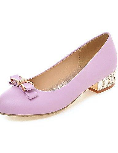 ZQ Zapatos de mujer - Tacón Bajo - Punta Redonda - Mocasines - Casual - Semicuero - Negro / Morado / Beige , purple-us8 / eu39 / uk6 / cn39 , purple-us8 / eu39 / uk6 / cn39 beige-us6 / eu36 / uk4 / cn36