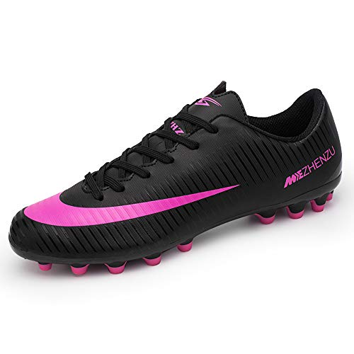 ZNZ CR Soccer High Cleats for Men Youth Football Messi Ankle Low Cut Boots Women Indoor Big Kid Size Training Outdoor AG (6.5 M US=EUR/39, Black)