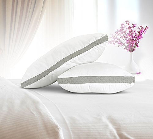 Gusseted Quilted Pillow Set Of 2 Bed Pillows Side Back