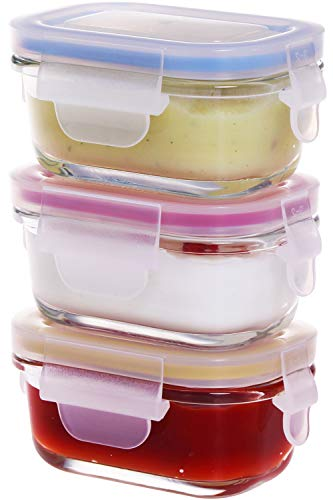 Glass Baby Food Storage Containers, [3 Pack, 4 OZ]Baby Snack Container, Small Containers with Lids, Reusable Small Glass Jars with Leakproof & Airtight Lids - BPA Free
