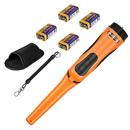 IP68 Waterproof Metal Detector Pinpointer, Ultra Sensitive 360-degree Searching Handheld Pin Pointer Wand with Spring Buckle Holster & LED Light+4 Free Batteries (Orange)