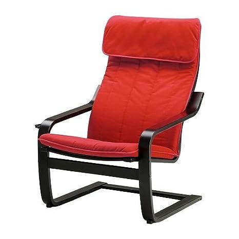 IKEA POÄNG - Butaca, negro-marrón, Alme medio de color rojo ...