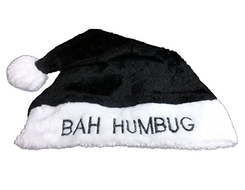 Loftus International Star Power Bah Humbug Plush Santa Hat, One Size, Black