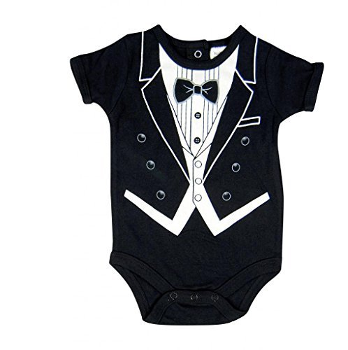 Hope Balloon Baby Boy's 2 Piece Tuxedo Creeper With Matching Socks 6 Months Black ()