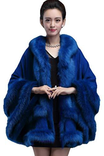PENER Women's Faux Fox Fur Trim Hooded Cape Wool Blend Cloak Winter Warm Coat Plus Size (Navy Blue)]()