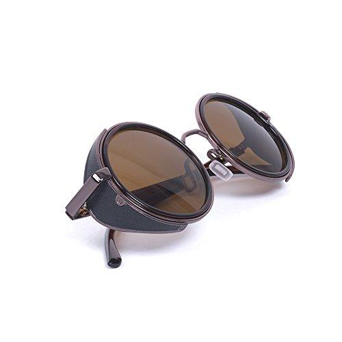 KT 50 Style Ronde Classique SUPPLY Lunettes Soleil années Rétro de Unisexe Marron Vintage aPgHar