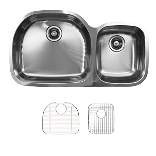 - Ukinox D537.60.40.8L.G Modern Undermount Double Bowl Stainless Steel Kitchen Sink with Bottom Grids