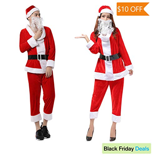 ELFJOY Unisex Adult Christmas Costume Fancy Outfit with Beards Cosplay for Party -