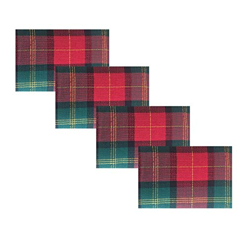 Trends Collection Homespun Christmas Gold Lurex Plaid Cotton Weave Holiday Tablecloths (Set of 4 Placemats)