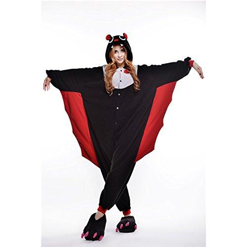 [Amurleopard Coverall Pajamas Hoodie Animal Costumes Cosplay Bat M] (Bat Costume For Cat)