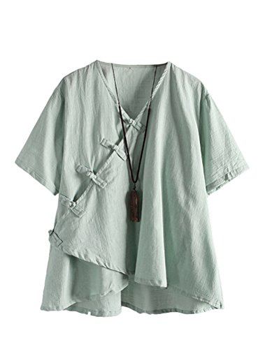Minibee Women's Linen Retro Chinese Frog Button Tops Blouse Green XL