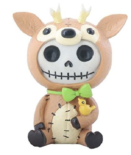 SUMMIT COLLECTION Furrybones John Signature Skeleton in Reindeer Costume with Small Yellow Bird