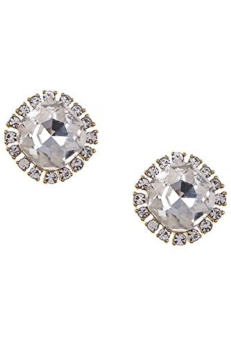 THE JEWEL RACK FAUX JEWELED CRYSTAL DOTTED EARRINGS (Clear/Gold) (Avon Freshwater Earrings)