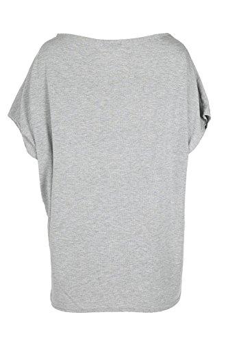 Oops Outlet Mujeres de Halloween Baggy Lagenlook Top espeluznantes calavera Batwing T Shirt gris