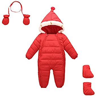 Happy Cherry Girl Boy Romper Snowsuit Two Zipper Cute Windproof Thick Winter Outerwear Jumpsuit Hooded Snow Coat Red L 18-24 Months