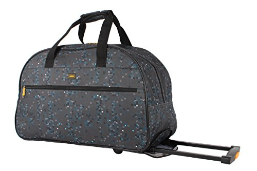 Lucas Luggage 22 Inch Printed Rolling Carry-On Suitcase Wheeled Duffel (22in, Gray)