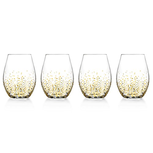 Fitz and Floyd Luster Stemless Glasses (Set of 4), Gold -