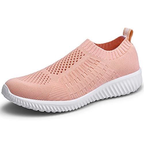 (LANCROP Women's Comfortable Walking Shoes - Lightweight Mesh Slip On Athletic Sneakers 9 US, Label 40 Pink)