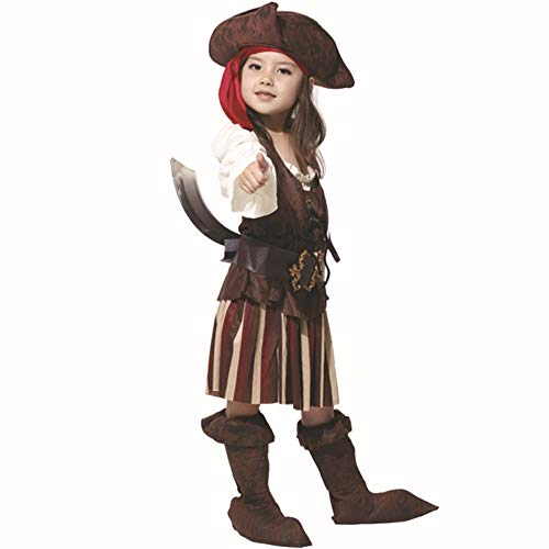 LCMJ WS Halloween Costumes for Kids Girl Pirate Captain Clothes Party Cosplay (Size : L)