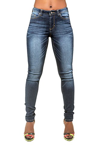 Poetic Justice Curvy Women's Blue Medium Whiskering Blasted Skinny Tall Jeans Size 30T x 35Length