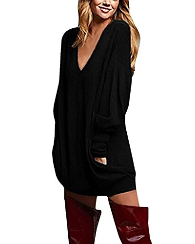 Longues Robe Taille Yidarton Noir Tunique Manches Femme Longue Grande V Col Pullover Shirt T Sexy Casual Blouse wOXFqfOA