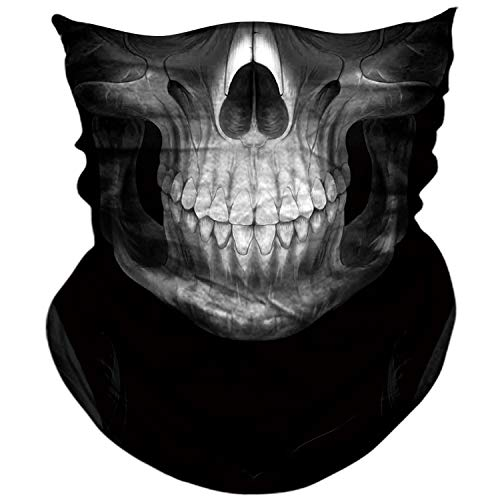 AXBXCX 3D Skull Skeleton Neck Gaiter Face Mask for Motorbike Motorcycle Cycling Riding Hiking Hunting Fishing Skateboard Powersports Cosplay Halloween Party Music Festivals Raves Tube Face Mask 091