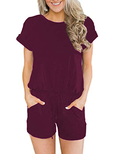 ANRABESS Women's Summer Solid Jumpsuit Casual Loose Short Sleeve Jumpsuit Rompers with Pockets Elastic Waist Playsuit Wine Red-M BYF-33 ()