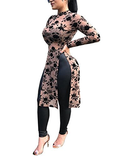 VintageRose Womens Stylish Applique Side Split Longline Long Sleeve - Collar Stylish High