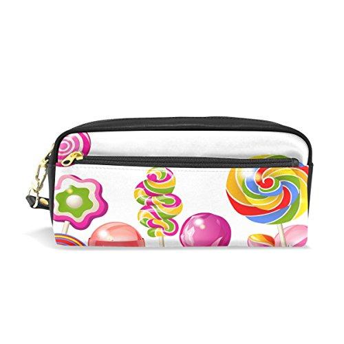 Sugar-Loaf Leather Student Pencil Case Pen Cosmetic Bag for Girls Makeup - Kids Sugarloaf