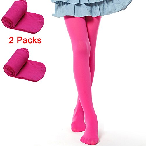 Hamkan Girls' Solid Color Microfiber Tights Leggings(Opaque Seamless Footed)/ 3 years - adult (Large, 2Pack(rose red))