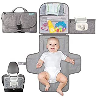 Portable Diaper Changing Pad, Portable Changing pad for Newborn boy & Girl- Baby Changing Pad with Smart Wipes Pocket – Waterproof Travel Changing Station kit - Baby Gift by Kopi Baby