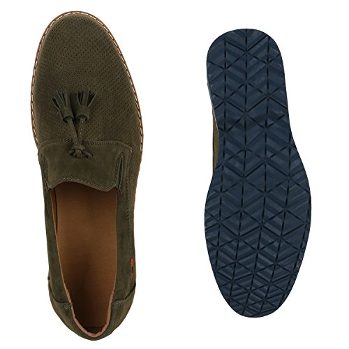 Stiefelparadies Herren Loafers Quasten Klassische Slipper Velours Slip-Ons Herrenschuhe Leder-Optik Schuhe Business Schuhe Flats Flandell Dunkelgrün Quasten