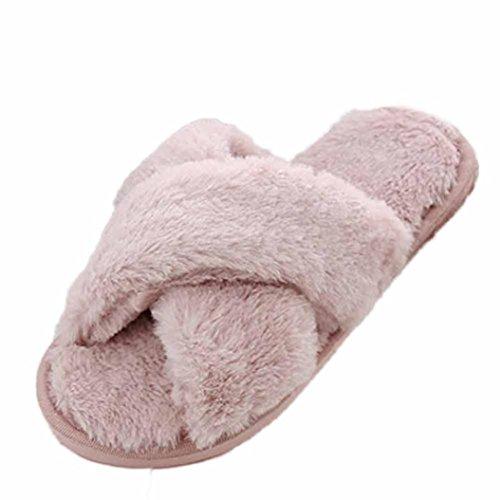 Slipper In Pelliccia Sintetica, Donne Alla Moda Inkach Open Toe Fluffy Sandali Piatti In Peluche Sfilata Sfilata Scarpe Rosa