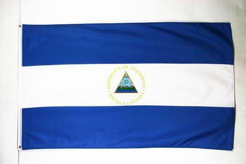 AZ FLAG Bandera de Nicaragua 150x90cm - Bandera NICARAGÜENSE 90 x 150 cm poliéster Ligero