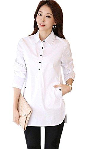 他の場所すなわち運営LIANHONG シンプル レディース カジュアルシャツ チュニック 女性用 ロング丈シャツ トップス ブラウス 体型カバー 通勤 通学 (サイズ(3XL))