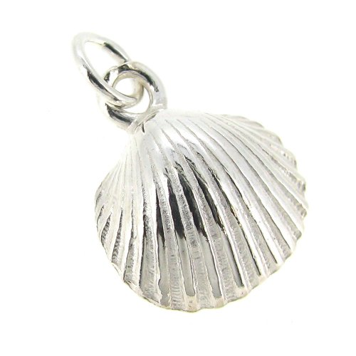 Dreambell .925 Sterling Silver Sea Shell Bead Dangle Charm Pendant 12mm