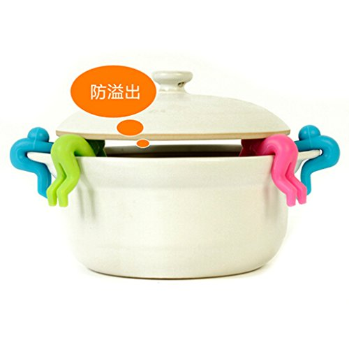 HuaYang Creative Kitchen Tool Gadget Pot Spill-proof Lid Stand Heat Resistant Holder New(Color: Blue)