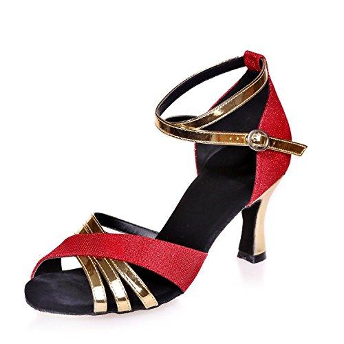 L@YC Zapatos De Baile De Mujer LatíN / Dancing Silk Con Negro / azul / Rojo / Multicolor / MarróN / Personalizable Red