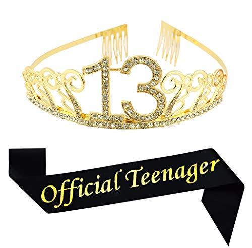 13th Birthday Gold Tiara and Sash, Glitter Satin