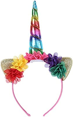 Kids Baby Sequin Ears Flower Unicorn Horn Headband Hair Band Party Cos Costume