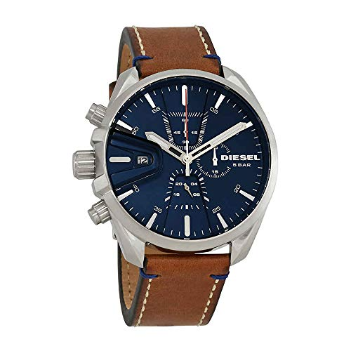 Diesel Brown Leather - Diesel Men's Ms9 Chrono Stainless Steel Quartz Watch with Leather Calfskin Strap, Brown, 21 (Model: DZ4470)