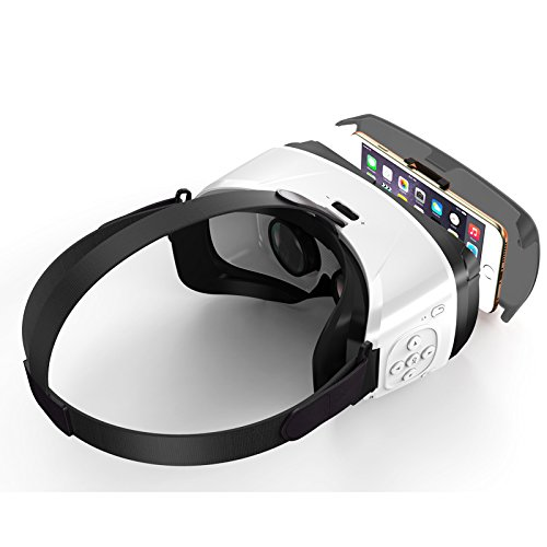 VIEW VR - ALL NEW! 2017!, Virtual Reality Headset with Built In Bluetooth Control - Best for iPhone & Android