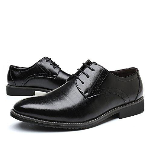 con Caucho de Zapatos Negro Planos Hombre AARDIMI Cordones qEpCwCP