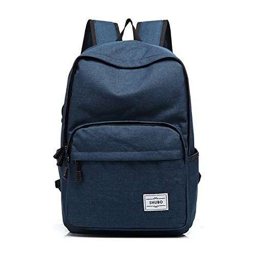 Waterproof School Bookbag Travel Hiking Backpack Dark Blue - 2